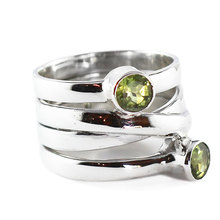 Valentine's day gift 18K gold filled diamond cut peridot solitaire ring