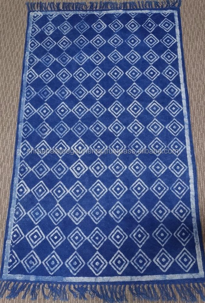 Indian Hand Woven Cotton Carpet Rug Indigo Blue Handmade Block Printed With Vegetabel Dyed Ethnic Interior Decorati Rugs