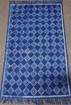 Indian Hand Woven Cotton Carpet Rug Indigo Blue Handmade Block Printed With Vegetabel Dyed