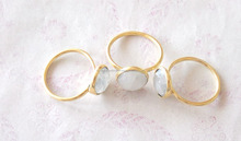 gold plated White Rainbow Moonstone Adjustable Ring