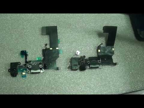 iPhone 5C and iPhone 5 Charger Port Dock Connector Flex Cable Comparison