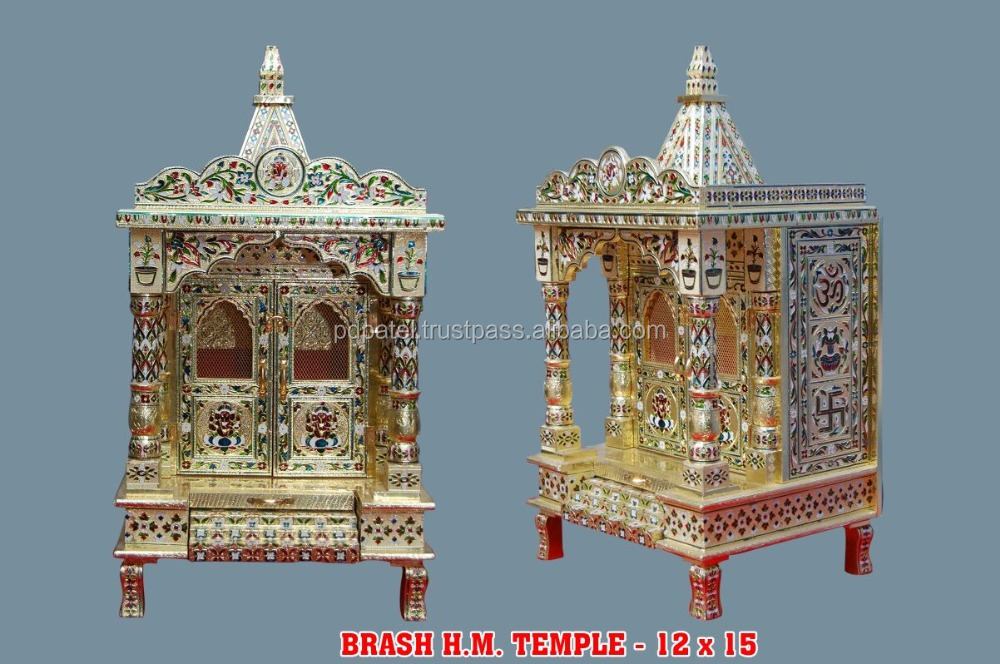 PD Craft Indian wooden temple & pooja ghar Silver & golden mina Indian god temple