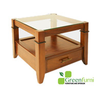 Coffee Table Square with 1 Drawer Plain Glass on Top living room furniture