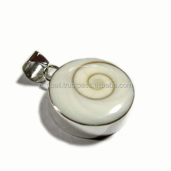 PD036-siva shell pendant with silver bezel