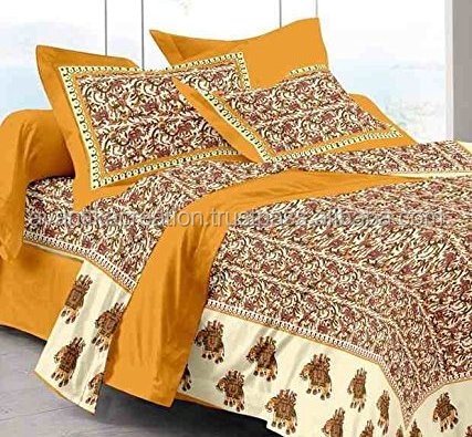 Embroidered Double Bed sheets King Jaipuri traditional with 2 pillow Covers /bed sheets/ bed spread Cotton