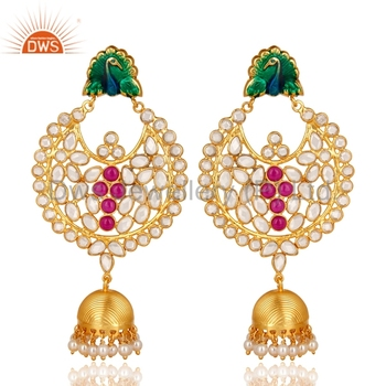 4e12412a1 Traditional Peacock Designer Gold Plated Earrings 925 Silver Pearl And CZ  Gemstone Earrings Manufacturers of Indian
