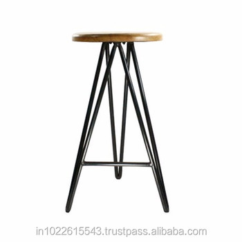 Antique Metal Bar Stools With Hairpin Legs