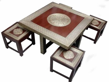 Beautiful Handmade Wooden Teapoy Center Coffee Table Set