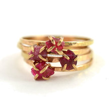 Ruby Stone Silver Ring fashion jewelry rubies gold-plated ring