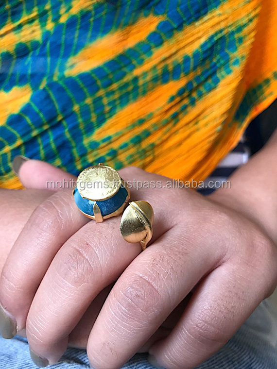 22 Ct Gold Plated Round Shape Colored Stone Coin Over Patte Aside Statement Ring