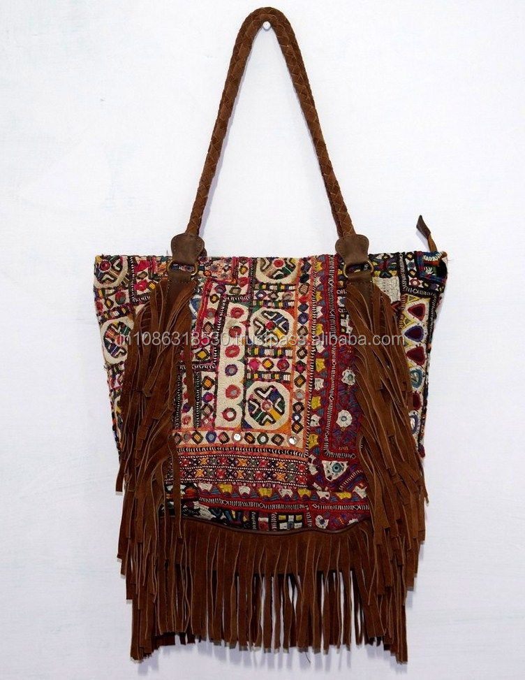 Vintage Banjara Bag Indian Hand Mirror Embroidery Work Vintage Bohemi Leather handle Indian Hippie Hobo Women tote bag wholesale