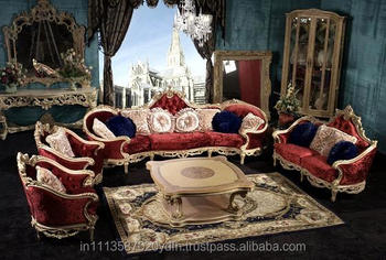 Royal Cardinal Gold Leaf Antique Sofa Set