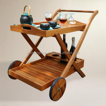 Hotel Serving Cart Trolley Wood Rolling Kitchen Wood