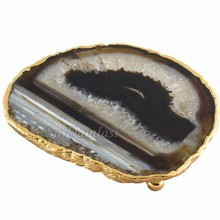 Agate Coaster, Gemstone, Natural Stone, Hajar Cup Pad, Mat, Tea and Coffee Cups, Silver Plating, Tray, Dish, Platter, Plate