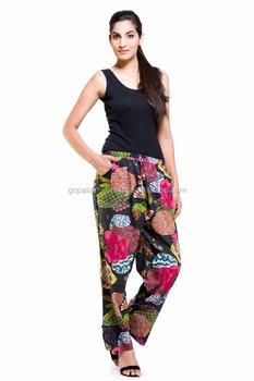 92fd5451eae9 Indian Handmade Floral Tropicana Harem Beach Pants Trousers Baggy ...