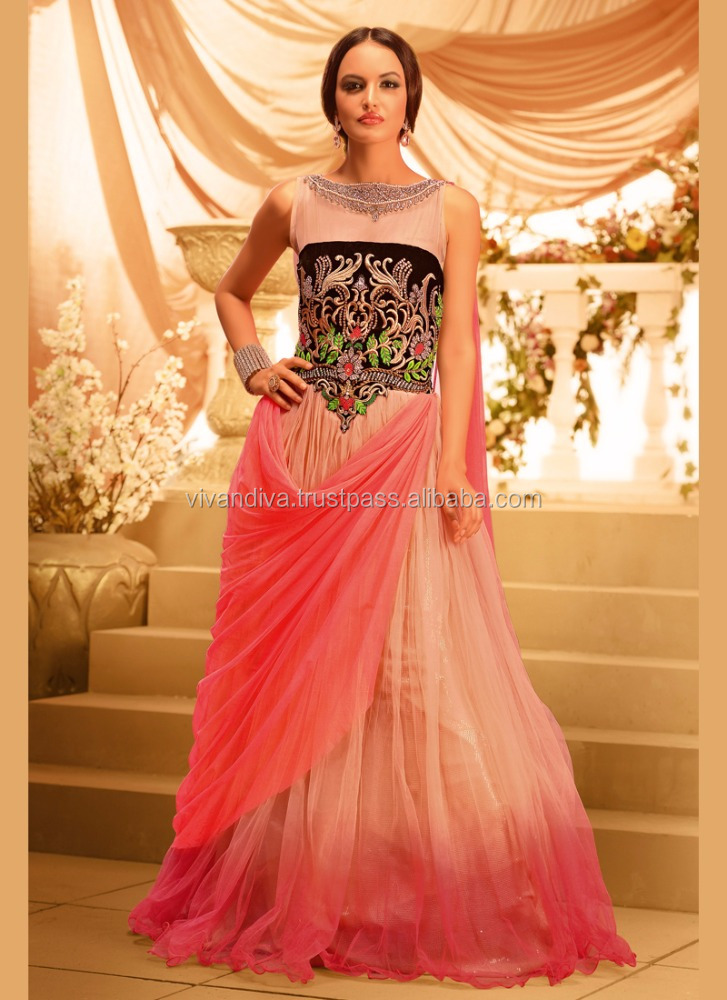 Ladies Long Wedding Designer Gown Fish Cut Gown Indian