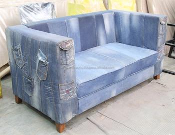 Reciclado Denim Jeans Sofá Com Jean