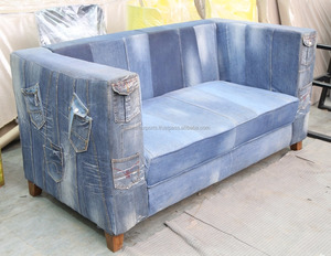Recycled Denim Jeans Sofa With Jean Pillow Set