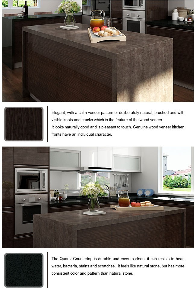 New Design Acrylic Finish Cabinet Wood Veneer Kitchen Cupboard with Island