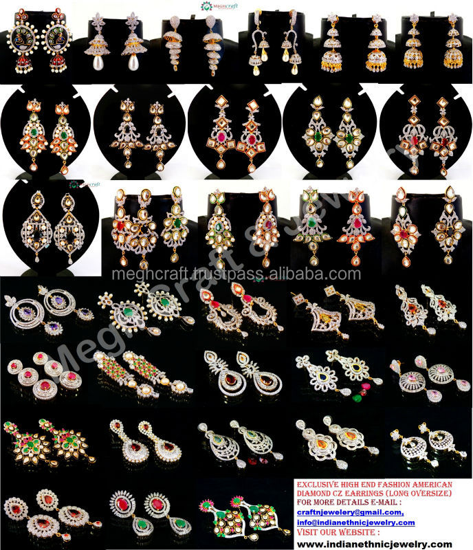 American Diamond Earrings Jewellery Indian Cubic Zirconia Earring Online Whole Jewelry