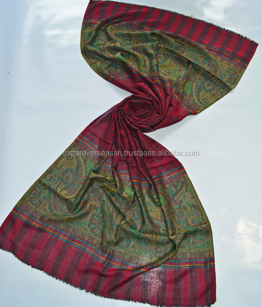Fine wool 120 count scarves in jamavar pattern