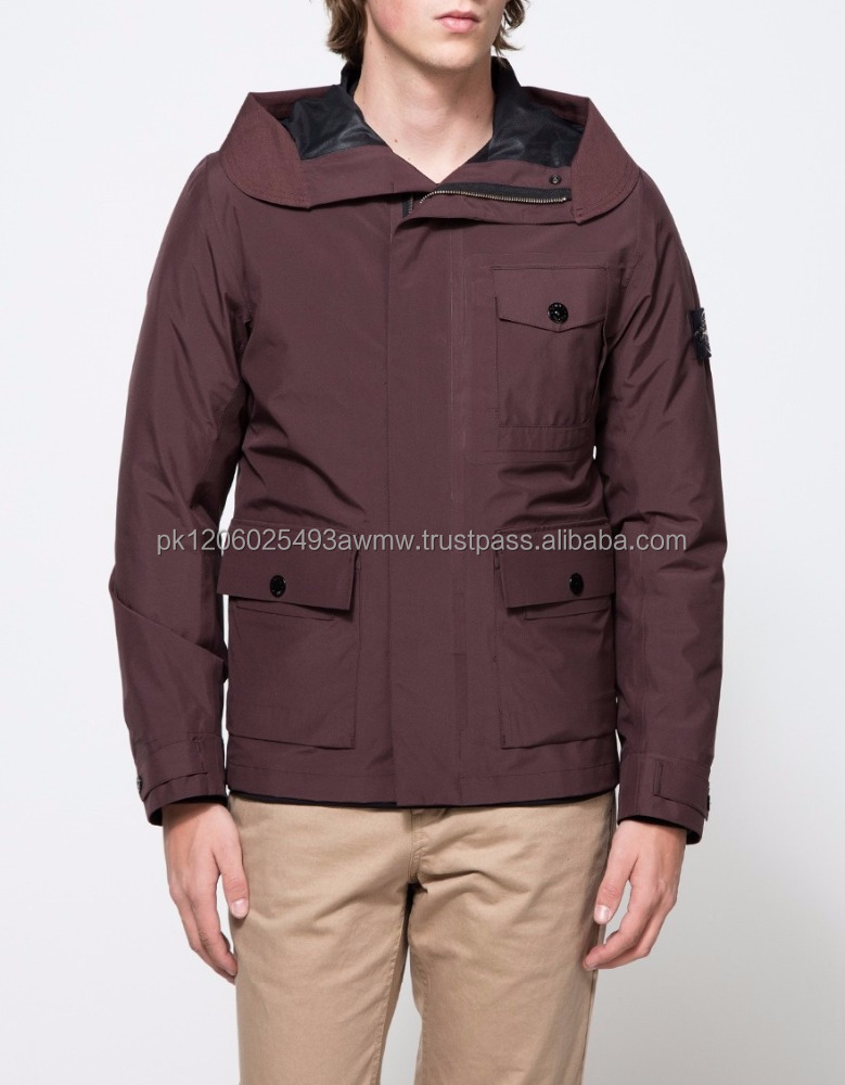 Mens fashion Packable Windbreaker Jacket-Red- brown Warm Custom waterproof polyester windbreaker jacket.