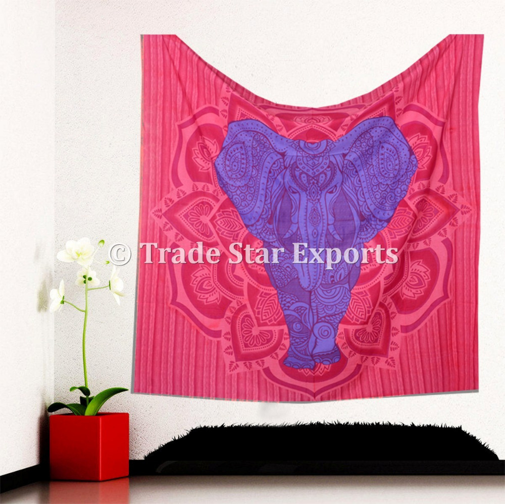 Ethnic Good Luck Indian Elephant With Lotus Mandala Home Decor Hippie Wall Art Bohemian Wall Hanging Tapestry