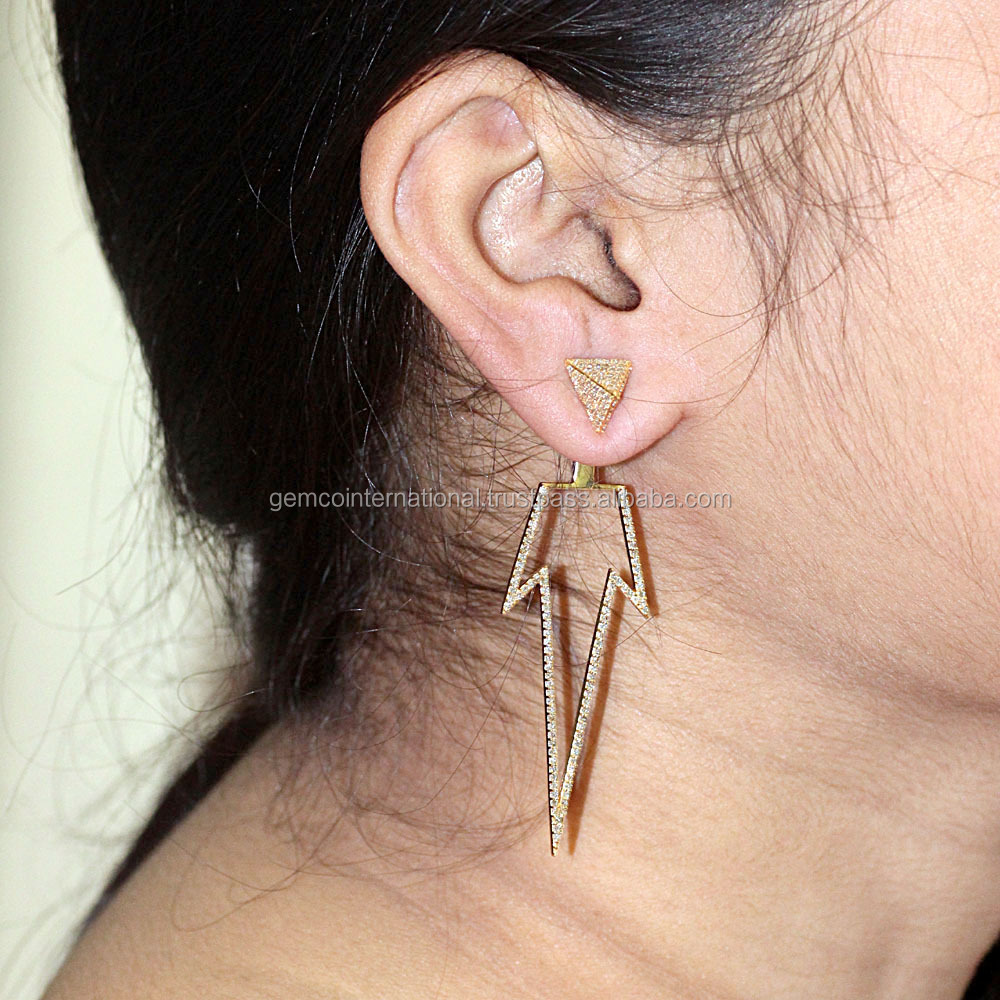 Yellow Gold Diamond Jewelry Fashion Earring Jackets