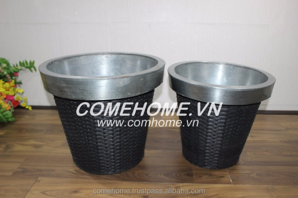 Poly rattan zinc flower pot: Set of 2 round planter for home decoration and garden planter - item No: CH2051A-2BL UNIT: SET