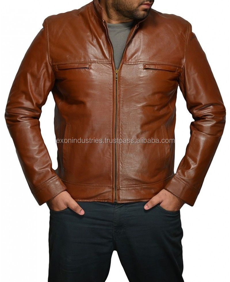 men full brown leather jacket with wholesale price made with sheep skin
