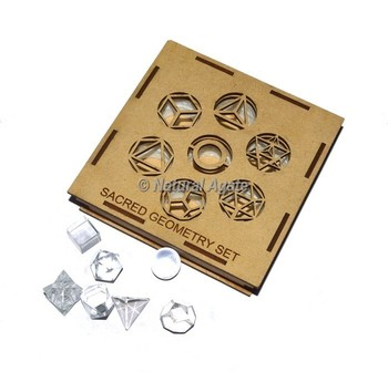 Crystal Quartz Sacred Geometry Set With Square Gift Box