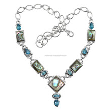 Abalone Shell And Blue Topaz Gemstone Handmade 925 Solid Silver Necklace