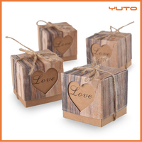 Candy Boxes Love Rustic Kraft Bonbonniere With Burlap Jute Shabby Chic Vintage Wedding Favor Imitation Bark Gift Box Set of 24