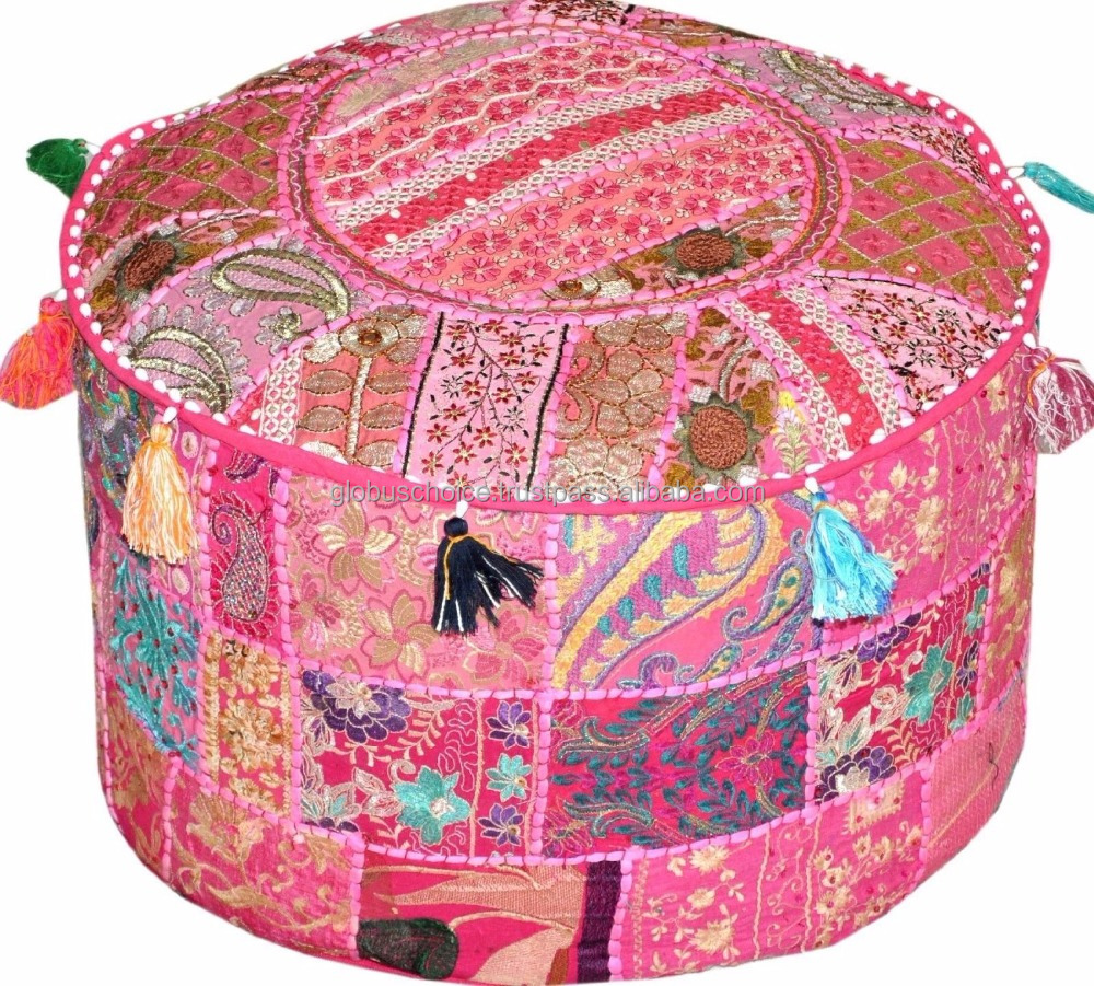 Indian Vintage Ottoman Pouf Cover Patchwork Ottoman Foot Stool Cover
