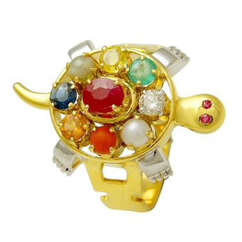 Stylish Tortoise Shape Real Precious Nine Stone Navratan Gold Ring