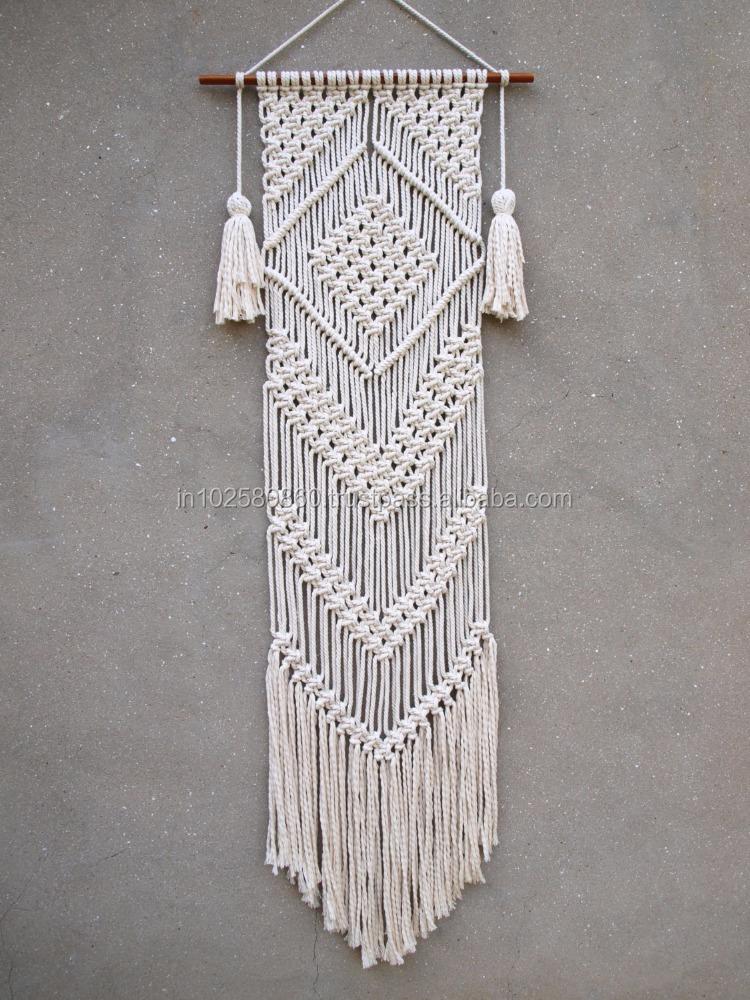 Macrame tapiz yute natural cuerda Macrame boho tapiz colgante de ...