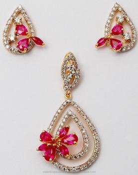G Set Pear Pattern Yellow Gold Diamond Ruby Pendant