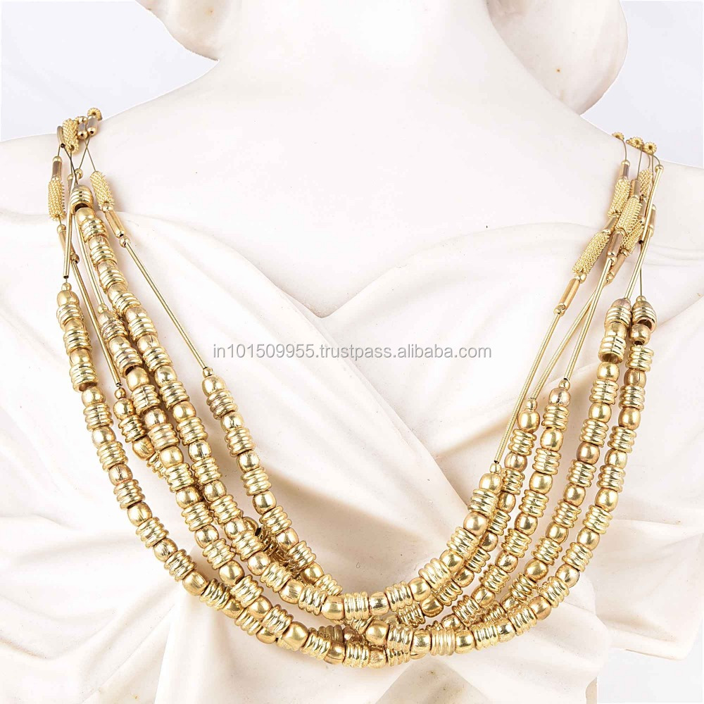 India long gold beads necklace designs wholesale 🇮🇳 - Alibaba