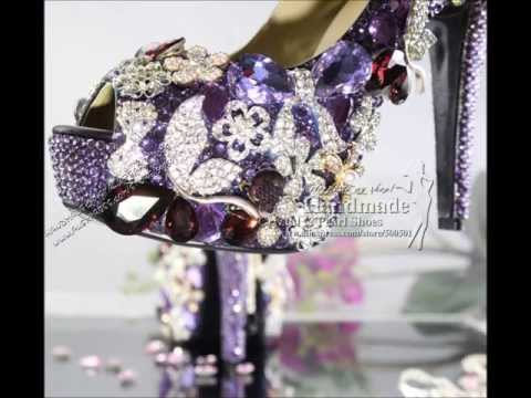 Custom Made Ladies High Heel Platform Pumps Rhinestone Crystal Bridal Shoes Sparkly Wedding Shoes