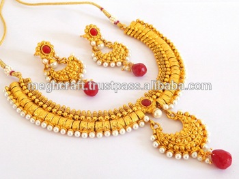 d681c510eb One Gram Gold Plated Chandelier Necklace set-South Indian Gold Plated  Bridal Necklace Set-
