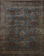 In Stock Indian Rugs Hand Knotted 100% Wool Blue & Cream 8x10 Traditional Rugs and Carpets for Home Q-238