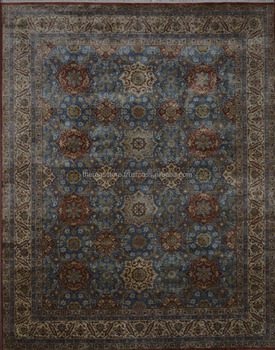 In Stock Indian Rugs Hand Knotted 100 Wool Blue Cream 8x10 Traditional And