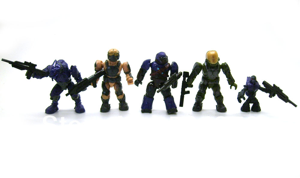 Wholesale-5 pcs Mega Bloks Halo Eva Spartan Soldier Covenant Elite Grunt  Brute Minifig Mini Building Toy Loose Action Figure Set Doll