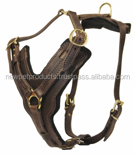 Large Leather Stud Dog Harness manufacturer