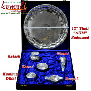 Brass silver plated pooja items puja thali Indian wedding door gift