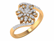 2016 Exclusive 14kt Yellow Gold Natural Diamond Floral Stylish Female Wedding Ring