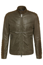 Re-interpreted biker jacket green with leather and fabric sections