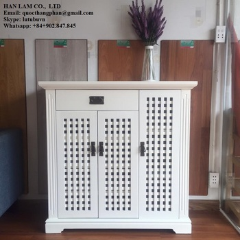 Japanese Style Shoes Storage Cabinet   High Quality Rubber Wood