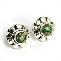 Romantic Sleeping Beauty Turquoise Bezel Setting Gemstone Studs Earring, 925 Sterling Silver Jewelry, Online Silver Jewelry