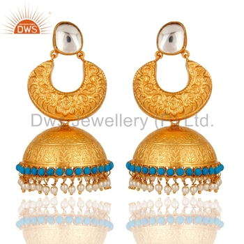 7ebf4be0a Traditional Designer Indian Jhumkas Gold Plated 925 Silver Crystal Quartz  And Pearl Gemstone Earrings Jewelry Supplier